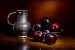 Still life (kyrsos.) Tags: stilllife fruits vintage autumn food jar plum dark longexposure lightpainting