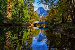 Half dome View From Under the Bridge (lindayaecker) Tags: riverview halfdomeview autumnbridgescenery mountainscape mountainview riveriew bridgescenic bridgescene bridgeview bridge