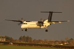 G-ECOK FlyBe Dash 8 - training in some wonderful light (Dougie Edmond) Tags: prestwick scotland unitedkingdom gb plane airplane aircraft airport egpk pik