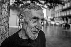 Billy (Leanne Boulton) Tags: portrait urban street spontaneous portraiture closeup streetphotography streetportrait streetlife old elderly man male face expression mood feeling emotion shy gentleman sensitive storytelling personality tender retired builder tone texture detail depthoffield bokeh naturallight outdoor light shade city scene human life living humanity society culture lifestyle people canon canon5dmkiii 35mm wideangle ef2470mmf28liiusm black white blackwhite bw mono blackandwhite monochrome glasgow scotland uk