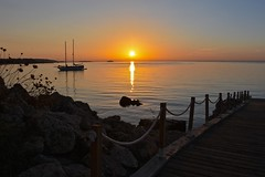 Happy Fence Friday (explored) (Nige H (Thanks for 15m views)) Tags: nature landscape dawn sunrise fence hff happyfencefriday sea water boat mediterranean majorca mallorca seascape calm tranquil coast coastline spain sun