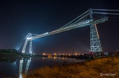 Newport Transporter Bridge at night (andyp178) Tags: transporter bridge newport wales river usk lights illuminated structure steel longexposure reflection landmark nikon tokina night