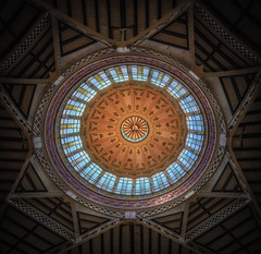 Beautiful ceiling of the Mercado Central (Bart Ros) Tags: spain valencia ceilings ceiling light sun sky mercado