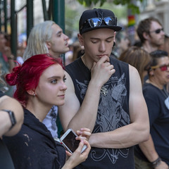 094A0210 v2 (Wheels Down) Tags: gay pride parade 2017 hottie crowd handsome tanktop cap shades sunglasses streetphotography candid nyc arms smooth red hair