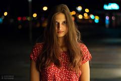 #2 Mysterious night (Droniu) Tags: girl night bokeh colorful red dress warm portrait