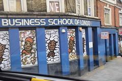 DSC_8594 London Bus Route #205 Shoreditch Business School of London Street Art Bishopsgate (photographer695) Tags: london bus route 205 shoreditch business school street art bishopsgate
