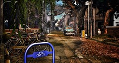 Let's grab our bike and go (Angela.Kwak) Tags: sign leaves fall tree shopping car secondlife sl