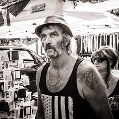 Everywhere I Lay my Hat (Tom Levold (www.levold.de/photosphere)) Tags: sw street candid germignaga fuji bw x100f hut man hat tattoo mann