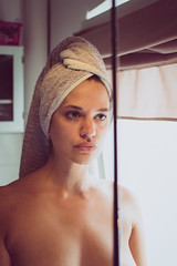 Mirror (Karsten Knöfler) Tags: mirror girl woman bathroom erotic sensual retro filter soft staring