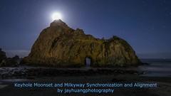 Synchronization (Jaykhuang) Tags: pfeifferbeach keyhole settingmoon moonset milkyway nightphotography timelapse jayhuangphotography coast arch