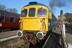 "British Rail Blue Liveried Class 33/1, 33102 ""Sophie"" (37190 ""Dalzell"") Tags: brblue birminghamrailwaycarriagewagonco brcwco sulzer crompton type3 bagpipe class33 class331 33102 sophie d6513 cvr churnetvalleyrailway cheddleton"