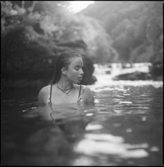 Amber (steve-jack) Tags: hasselblad 501cm 80mm cb ilford delta 100 film 120 6x6 medium format portrait river girl perceptol cornwall epson v500