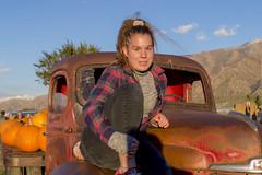 Portrait with Fall Colors (aaronrhawkins) Tags: jessica truck portrait pose old rusty pumpkin farm rowley santaquin utah fall autumn harvest festival girl teen teenager hood sit daughter smile aaronhawkins
