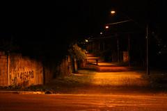 Andarilho (tatiana barthem) Tags: andarilho caminhante hiker yellow orange light night luzes solitary street photoart picture rua noite shot conceptart portrait caminho people