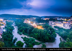 Bulgaria - Veliko Tarnovo - Yantra River Meander at Dusk - Twilight - Blue Hour - Night (© Lucie Debelkova / www.luciedebelkova.com) Tags: velikotarnovo великотърново greattarnovo bulgaria bulgarian българия bălgaria republicofbulgaria републикабългария country europe southeasterneurope easterneurope balkans landscape nature natuur natureza paysage paisaje paisagem paesaggio landschaft scenery scenic overlook outlook world exploration trip vacation holiday place destination location journey tour touring tourism tourist travel traveling visit visiting wonderful fantastic awesome stunning beautiful breathtaking incredible lovely nice sight sightseeing wwwluciedebelkovacom luciedebelkova mist fog sky night dusk water river bend meander city town building tree forest