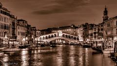 Venice, Rialto Bridge (Cristi Pop) Tags: 2018 venetia venice sepia rialtobridge night frontview canalegrande canal