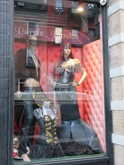 Purple Passion Kink Shop Window S and M Wear 4888 (Brechtbug) Tags: purple passion kink shop window s m wear costumed mannequins store front an adult outfits west side chelsea neighborhood sale costume costumes nyc 2018 new york city off 8th avenue midtown manhattan below hell kitchen westside fashion racy display november 11122018 dog collar mask masks leather fetish clothes
