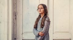 _DSC8850 (Zborowska) Tags: girl sadness closed eyes love face background door white outdoor dress