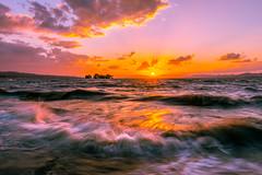 sunset 6688 (junjiaoyama) Tags: japan sunset sky light cloud weather landscape yellow orange purple contrast color lake island water nature autumn fall wave sun reflection