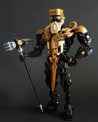 Kingmarshy (Kingmarshy) Tags: lego bionicle hero factory moc self persona weapon gold black titan revamp beard crown king marshy kingmarshy fusion action figure sword hammer tool brick built head
