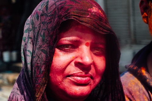 Red Gulal Covered Woman During Holi, Mathura India