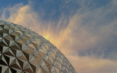Sunset upon the Globe ! (jlynfriend) Tags: phonephotos lg sunset skyview skyscape clouds evening structure globe park disney epcot art