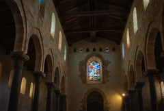 Western stained glass window (Tigra K) Tags: cefalù palermo italy it 2018 architecture blue byzantine cefalu ceiling church color contemporary glass interior repetition rhythm romanesque sicily vitrage window wood arch art pattern