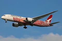 "VH-ZND | Boeing 787-9 Dreamliner | Qantas ""Emily Kame Kngwarreye"" (special ""Yam Dreaming"" livery) (cv880m) Tags: emily kame kngwarreye newyork jfk kjfk kennedy aviation aircraft airplane jet airliner airline vhznd boeing 787 789 7879 qantas dreamliner yam dreaming balarinji kangaroo australia jetliner"