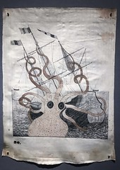 Giant Squid Attacking A Ship (dnskct) Tags: werehere hereios wah cryptozoology squid giantsquid attackingaship marine drawing orrawhitehitchcock illustration