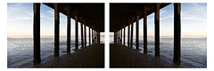 A Room with a View (David Ian Ross) Tags: cage room view miroir reflection reversed mirrored symmetry symétrique diptych forster em beach evening dusk low tide structure