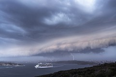 Celebrity Soltace (Jay Daley) Tags: australia nsw sky stormyweather wildweather weather lightning clouds shelfcloud sydneyheads manly thunderstorm celebritysoltace sydneyaustralia sydneyharbour sydney storm cruiseship