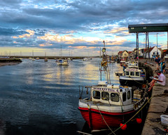 Harbour Sunset (Borderline UK) Tags: elements wellsnextthesea norfolk harbour fishingboats workingboats topazstudio dmcfz200