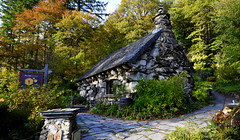 Tŷ Hyll (The Ugly House) (Peter.S.Roberts) Tags: interesting tŷhylltheuglyhouse tŷhyll house dwelling home tearoom cafe historic historichouse tŷhyllcoordinates531008°n38595°w landscape uglyhouse tŷhyllcapelcurigconwyll240ds northwales cymru woods forest trees autumn afternoon outdoor colours leaves branches bark stone rocks path pathway gardens woodland forestry sign windows doorway gate gatepost flora shrubs historymystery chimney chimneystack woodlandwalk wales welsh plants plantlife barrels business pots planters steps quiet roof nikond7200 sigma wideangle petersroberts flickr architecture pasttimes cottage robbers thieves