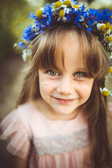 Flowery girl (solomiya.p) Tags: portrait wreath crown flowers wild wildflower garden field green eyes little kids kid pretty nature beauty mood smile outdoor light blur sigma 35mm natural