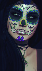 Extraordinarily pretty teeth, beauty lingers out of reach (Neva Valon) Tags: taox taoxtattoo tattoo tattoos ink facepaint face mask makeup maitreya female woman skull teeth doll muerte muertos muerto halloween sl secondlife virtual portrait avatar s0ng truth pulse