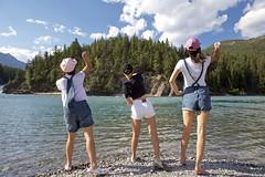 Summer of 2018 (John Andersen (JPAndersen images)) Tags: banff bowfalls girls mountain park rockthrowing sisters