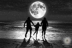 To the moon and back (Xlavius) Tags: outside blackandwhite monochrome moon glow silhouette pentax k5iis 35mm limited running love people sky beach sand ocean water sea nature fun stars wet dark light black white shadow father mother child reflection surreal dream unreal portfolio