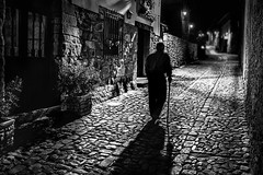 The last part of the journey - L'ultima parte del viaggio (Stefano Avolio) Tags: journey path viaggio vecchio anziano elderly bastone walkingstick bw blackwhite blackandwhite monocromo bn biancoenero bianconero notte night stefanoavolio savolio street village paese ombre shadows