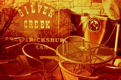 [ serene saturday afternoon on mars ] (ǝlɐǝq ˙M ʍǝɥʇʇɐW) Tags: texas restaurant tables chairs sign redscale film 35mm analogue fan silver creek doubleexposure