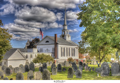 Chelmsford Unitarian Church and Cemetery of the Founding Fathers (Pearce Levrais Photography) Tags: church cemetery tombstone canon hdr landscape cloud steeple explore ma massachussetts headstone old historic flag american