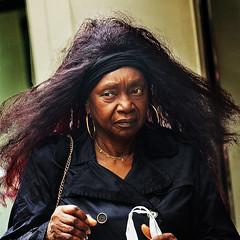Portrait (D80_519695) (Itzick) Tags: manhattansep2018 portrait candid colorportrait hairstyle earrings necklace blackwoman longhair streetphotography face facialexpression d800 itzick