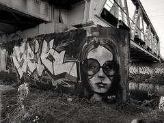 Woman with glasses (wojciechpolewski) Tags: fineart art graffiti wpolewski underthebridge bridge railwaybridge blacknwhite blackandwhite monochromatic monotone monochromatico monochrome river klodnicariver bw bnw