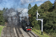 'Battle of Britain' No. 34081 92 Squadron , Leaving Goathland Station , Steam Gala , NYMR , 29-9-2018a (Bri Hall) Tags: nymr northyorkshiremoors northyorkshiremoorsrailway steamgala 34081 battleofbritain goathland 92squadron