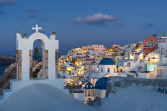 Over The Bell Of Oia (JH Images.co.uk) Tags: santorini oia clouds niht blue hour cliffs greece island cross church hdr dri bell