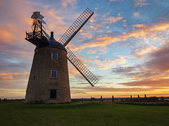 Great Haseley Windmill (Bruce Clarke) Tags: olympus landscape sunset outdoor davidempringham restoration dusk sirmartinwood m43 oxfordshire 714mmf28 greathaseleywindmill towermill restored omdem1 sky windmill greatmilton commonsails greathaseleywindmilltrust sails