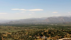 countryside view from the acropolis at Mycenae IMG_6116 (mygreecetravelblog) Tags: greece peloponnese argolis mycenae mykines archaeologicalsite historicsite citadel fortress acropolis ruins outdoor landscape countryside mountains trees valley hills