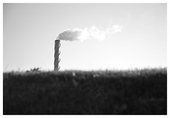cloud factory (haidem3) Tags: sky skyscape indusrial chimney grass minimalism bw landscapes