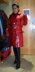 Burberry Belted (johnerly03) Tags: erly philippines asian filipina fashion high heel black knee length boots long hair shiny red mac raincoat burberry trench