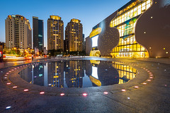 National Taichung Theater (Mr.Saengphon) Tags: xitundistrict taichung taiwan tw city cityscape architecture sony sonyalpha reflection water light landmark longexposure ef1635mmf4lisusm metabones sky bluehour twilight