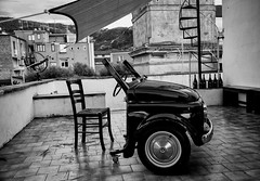 Half Car and The Chair (Maurizio Imbriale) Tags: bw blackwhite creativecommons explore flickr flickriver italy maurizioimbriale monochrome nikond610 scenephotography sorrento worldstreetphotography
